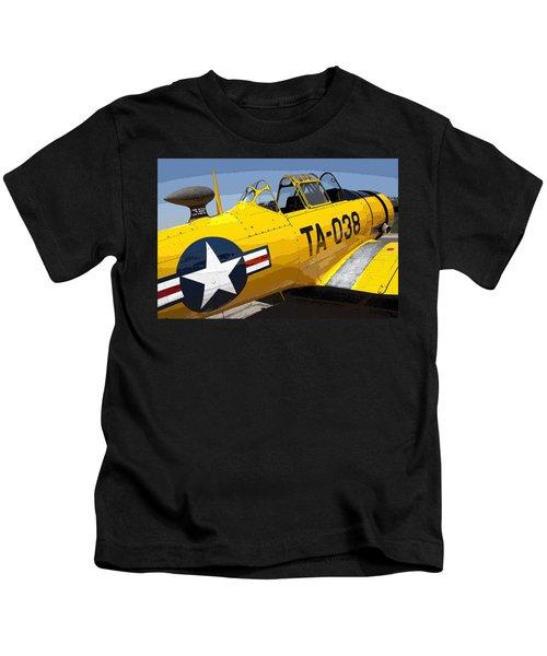 North American T-6 Texan Airplane Kids T-Shirt