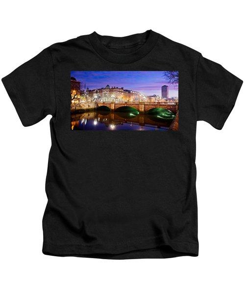 O Connell Bridge At Night - Dublin Kids T-Shirt