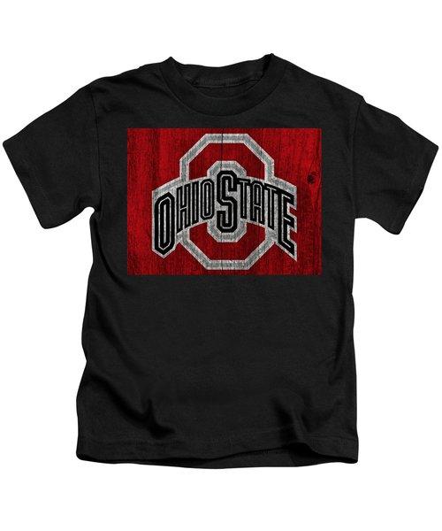 Ohio State University On Worn Wood Kids T-Shirt
