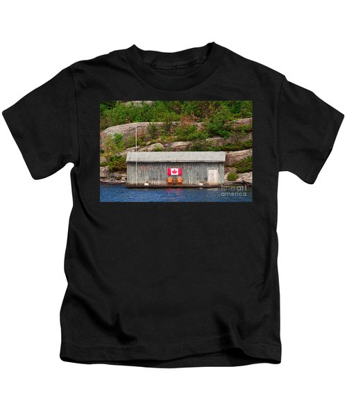 Old Boathouse With Two Muskoka Chairs Kids T-Shirt
