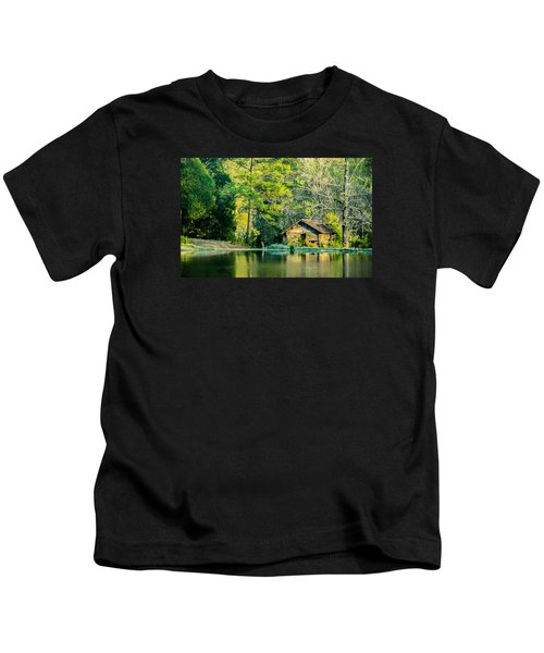 Old Cabin By The Pond Kids T-Shirt
