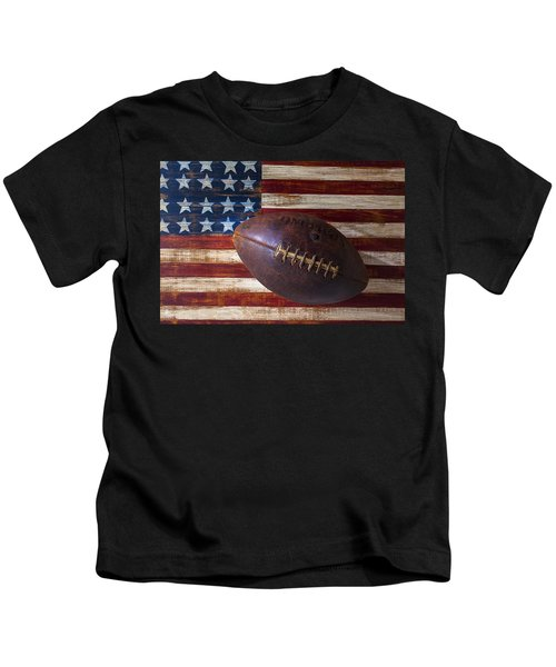 Old Football On American Flag Kids T-Shirt