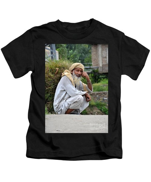 Old Man Carrying Fodder Swat Valley Kpk Pakistan Kids T-Shirt