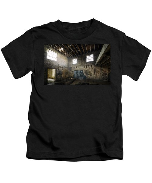 Old Warehouse Interior Kids T-Shirt by Scott Norris