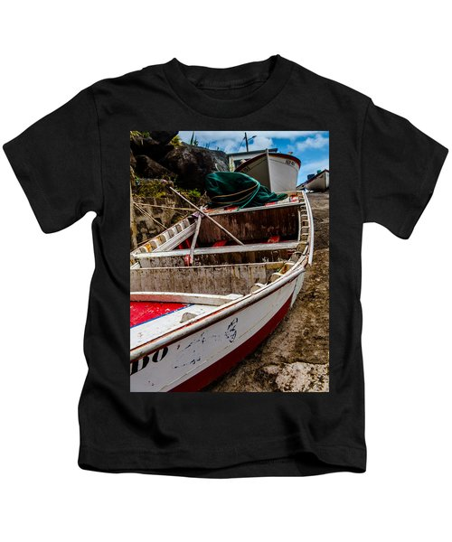 Old Wooden Fishing Boat On Dock  Kids T-Shirt