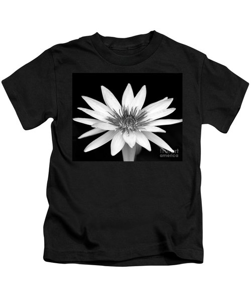 One Black And White Water Lily Kids T-Shirt
