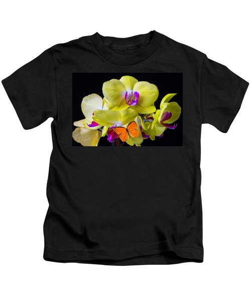 Orange Butterfly And Yellow Orchids Kids T-Shirt