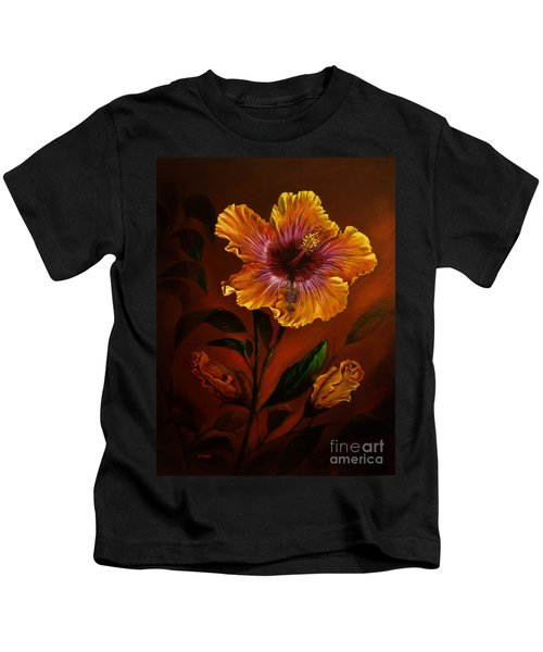 Orange Painted Hibiscus Kids T-Shirt