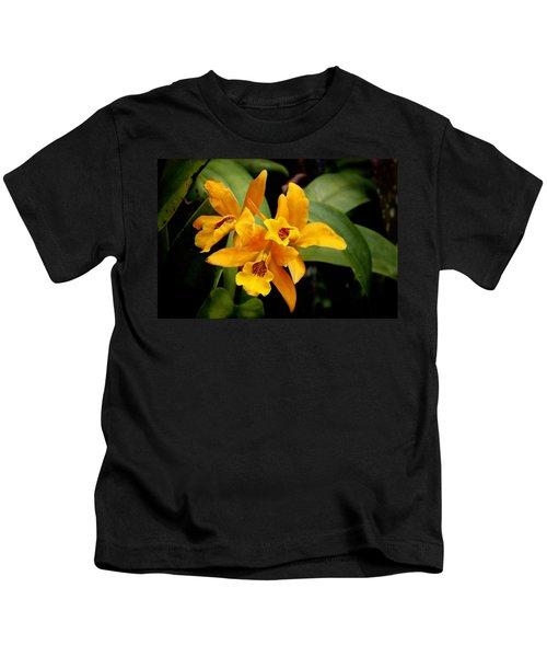 Orange Spotted Lip Cattleya Orchid Kids T-Shirt