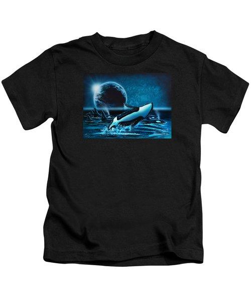 Orcas At Night Kids T-Shirt