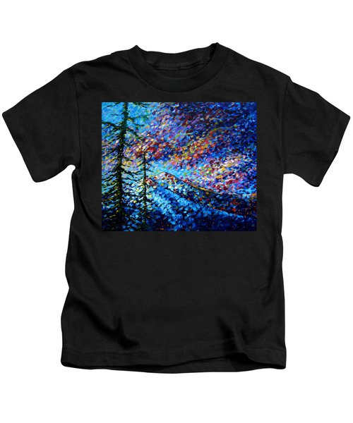 Original Abstract Impressionist Landscape Contemporary Art By Madart Mountain Glory Kids T-Shirt