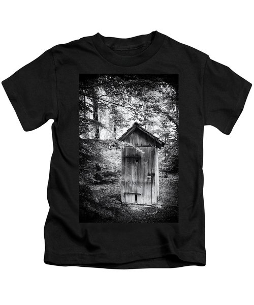 Outhouse In The Forest Black And White Kids T-Shirt