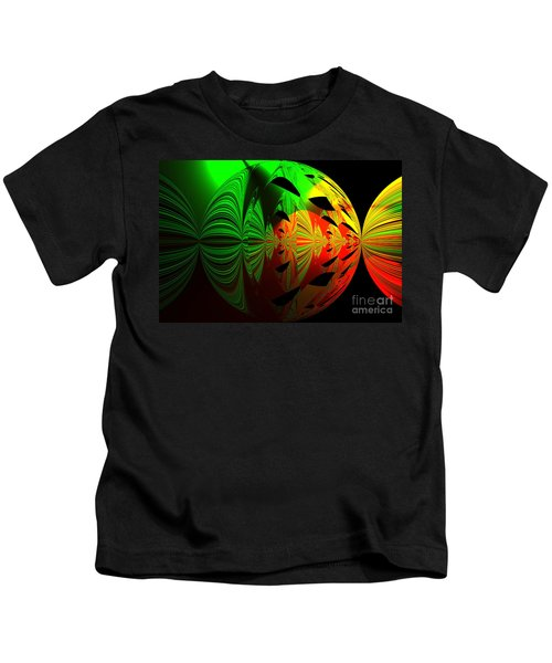 Art. Unigue Design.  Abstract Green Red And Black Kids T-Shirt