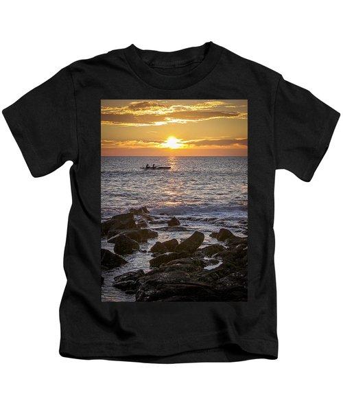 Paddlers At Sunset Portrait Kids T-Shirt