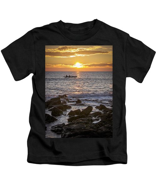 Paddlers At Sunset Portrait Kids T-Shirt