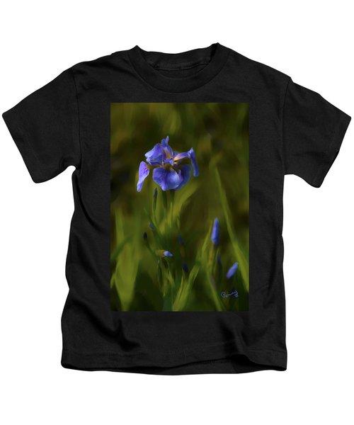 Painted Alaskan Wild Irises Kids T-Shirt