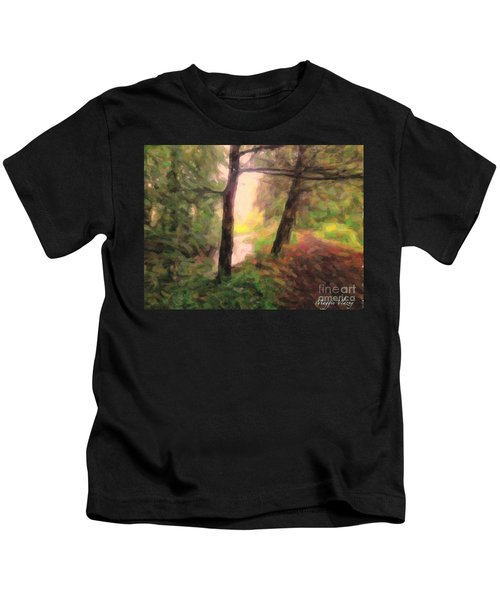 Landscape Painting Of Path Into Woods Kids T-Shirt
