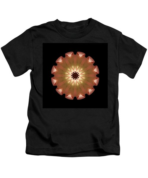 Pale Pink Tulip Flower Mandala Kids T-Shirt