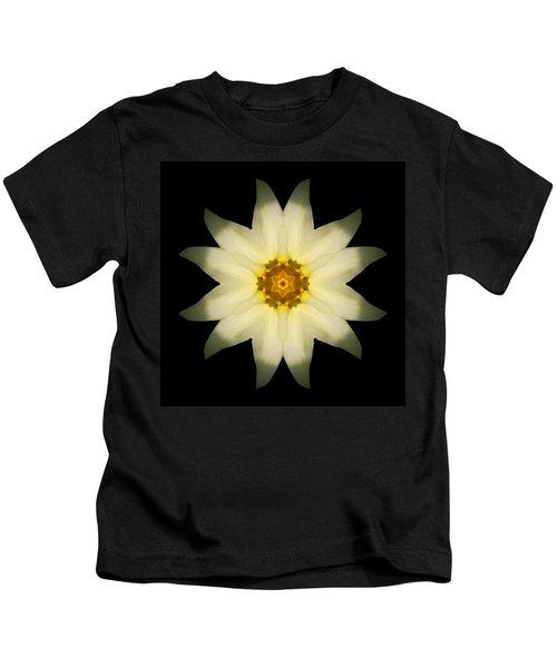 Pale Yellow Daffodil Flower Mandala Kids T-Shirt