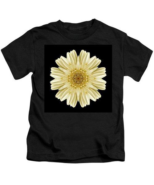 Pale Yellow Gerbera Daisy IIi Flower Mandala Kids T-Shirt