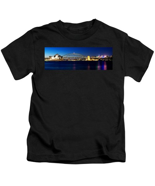 Panoramic Photo Of Sydney Night Scenery Kids T-Shirt