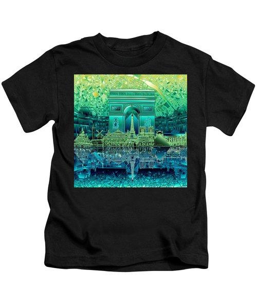 Paris Skyline Landmarks 6 Kids T-Shirt