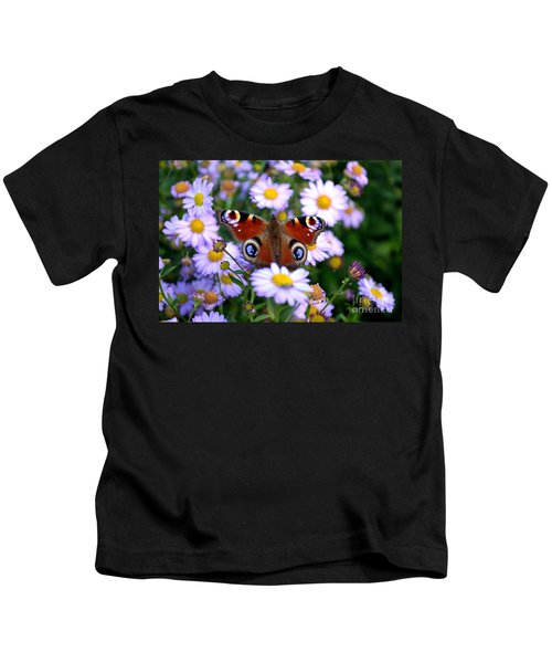 Peacock Butterfly Perched On The Daisies Kids T-Shirt
