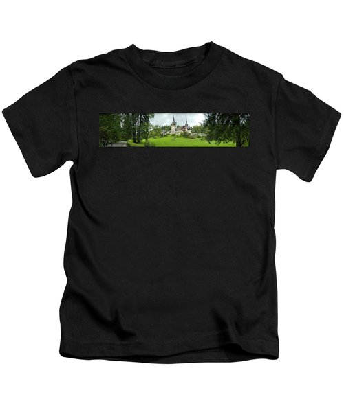Peles Castle In The Carpathian Kids T-Shirt by Panoramic Images