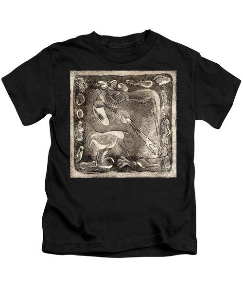Petroglyph - Horse Takhi And Stones - Prehistoric Art - Cave Art - Rock Art - Cave Painters Kids T-Shirt