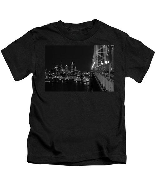 Philadelphia Night B/w Kids T-Shirt