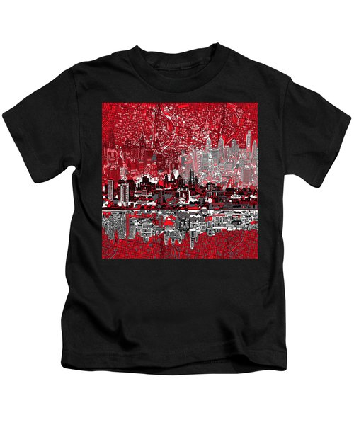 Philadelphia Skyline Abstract 4 Kids T-Shirt by Bekim Art