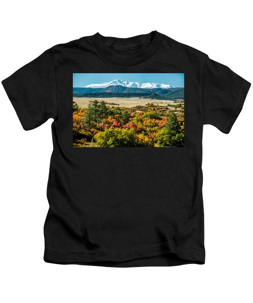 Pikes Peak Over Scrub Oak Kids T-Shirt