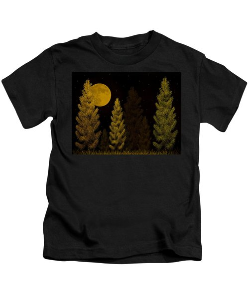 Pine Forest Moon Kids T-Shirt