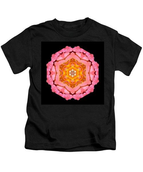 Pink And Orange Rose I Flower Mandala Kids T-Shirt