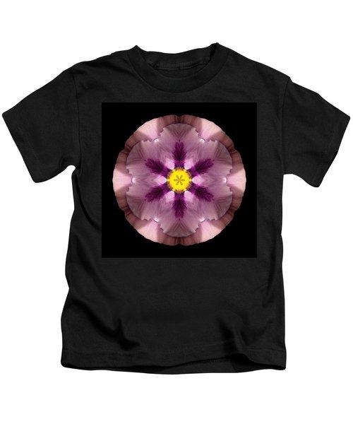 Pink And Purple Pansy Flower Mandala Kids T-Shirt