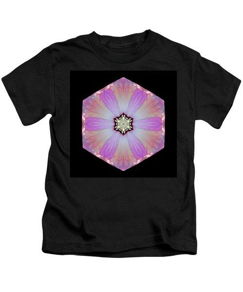 Pink And White Hibiscus Moscheutos I Flower Mandala Kids T-Shirt