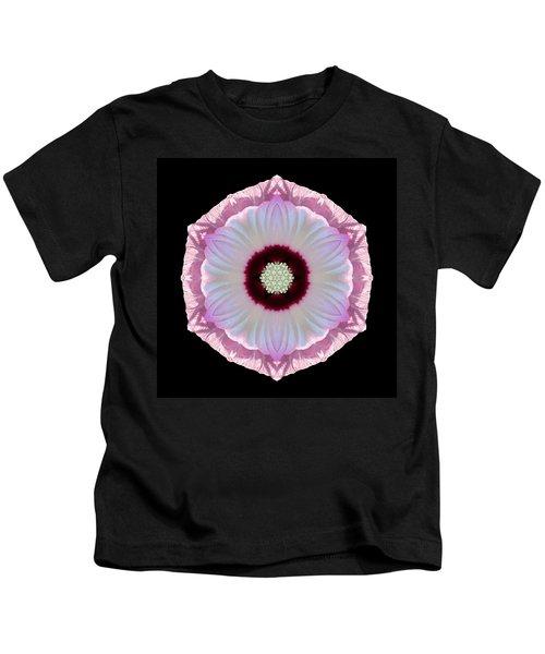Pink And White Hibiscus Moscheutos Vii Flower Mandala Kids T-Shirt