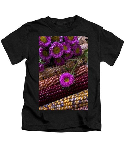 Pink Flower And Corn Kids T-Shirt