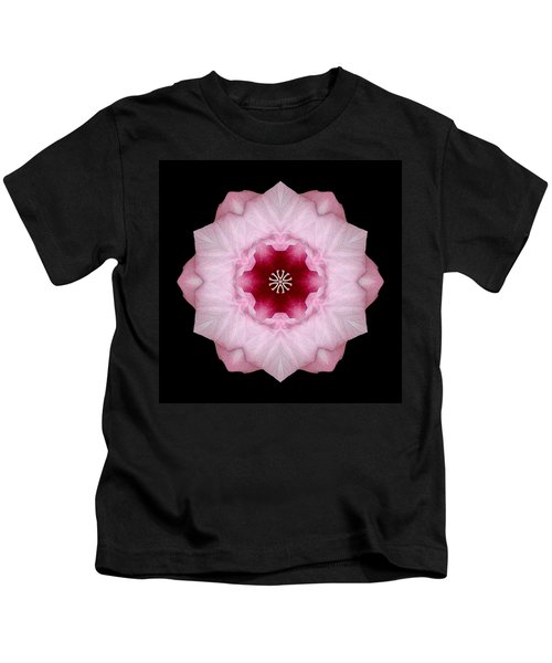 Pink Hibiscus I Flower Mandala Kids T-Shirt