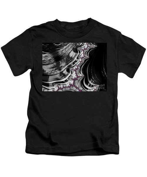 Pink On Black And White Fractal Abstract Kids T-Shirt