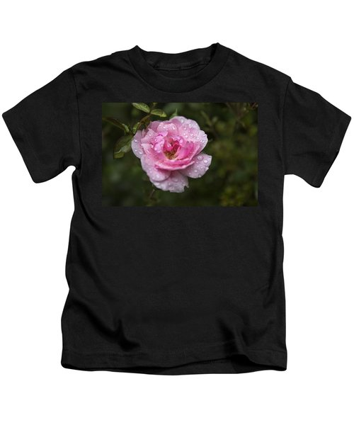 Pink Rose With Raindrops Kids T-Shirt