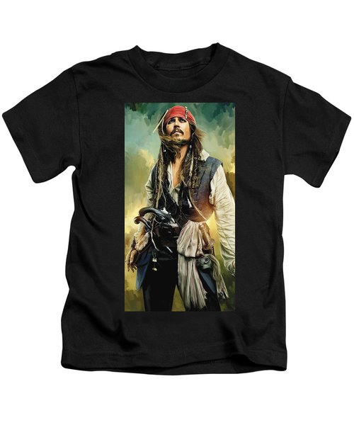 Pirates Of The Caribbean Johnny Depp Artwork 1 Kids T-Shirt by Sheraz A