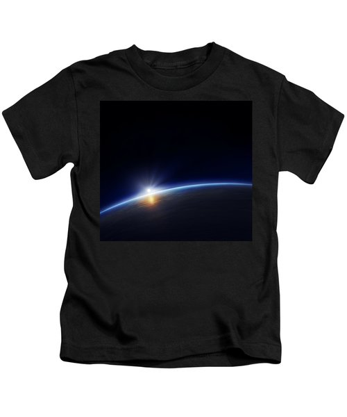 Planet Earth With Rising Sun Kids T-Shirt
