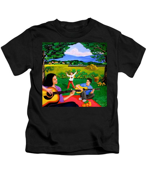 Playing Melodies Under The Shade Of Trees Kids T-Shirt