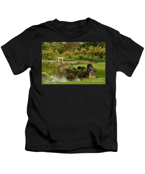 Pond Rocks Grass And Japanese Arch Singapore Kids T-Shirt