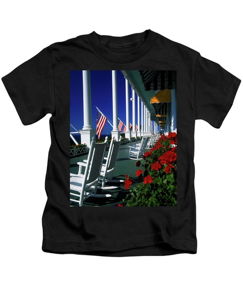 Porch Of The Grand Hotel, Mackinac Kids T-Shirt