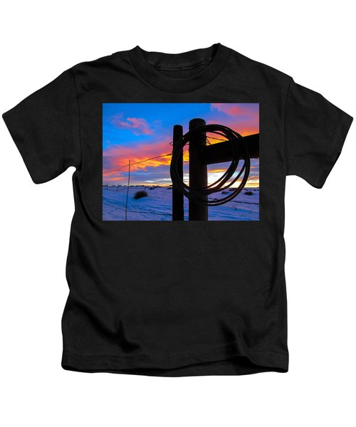Prairie Fence Sunset Kids T-Shirt