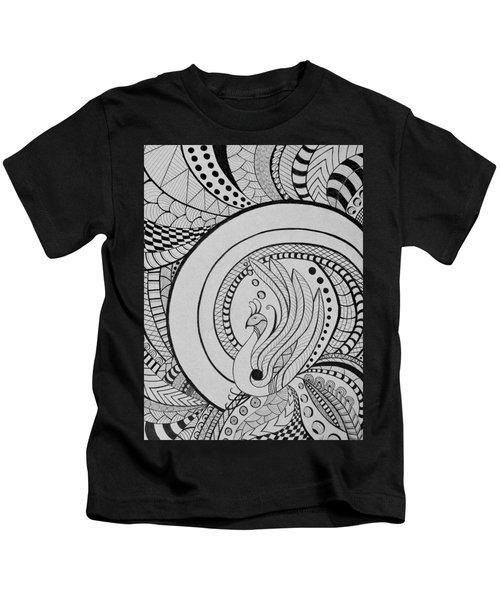 Psychedelic Peacock - Zentangle Drawing - Ai P.nilson Kids T-Shirt