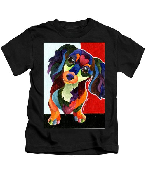 Puppy Love Long Haired Dachshund Kids T-Shirt