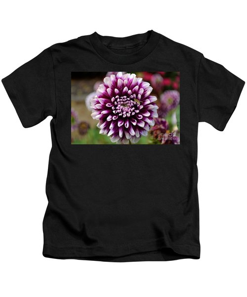 Purple Dahlia White Tips Kids T-Shirt